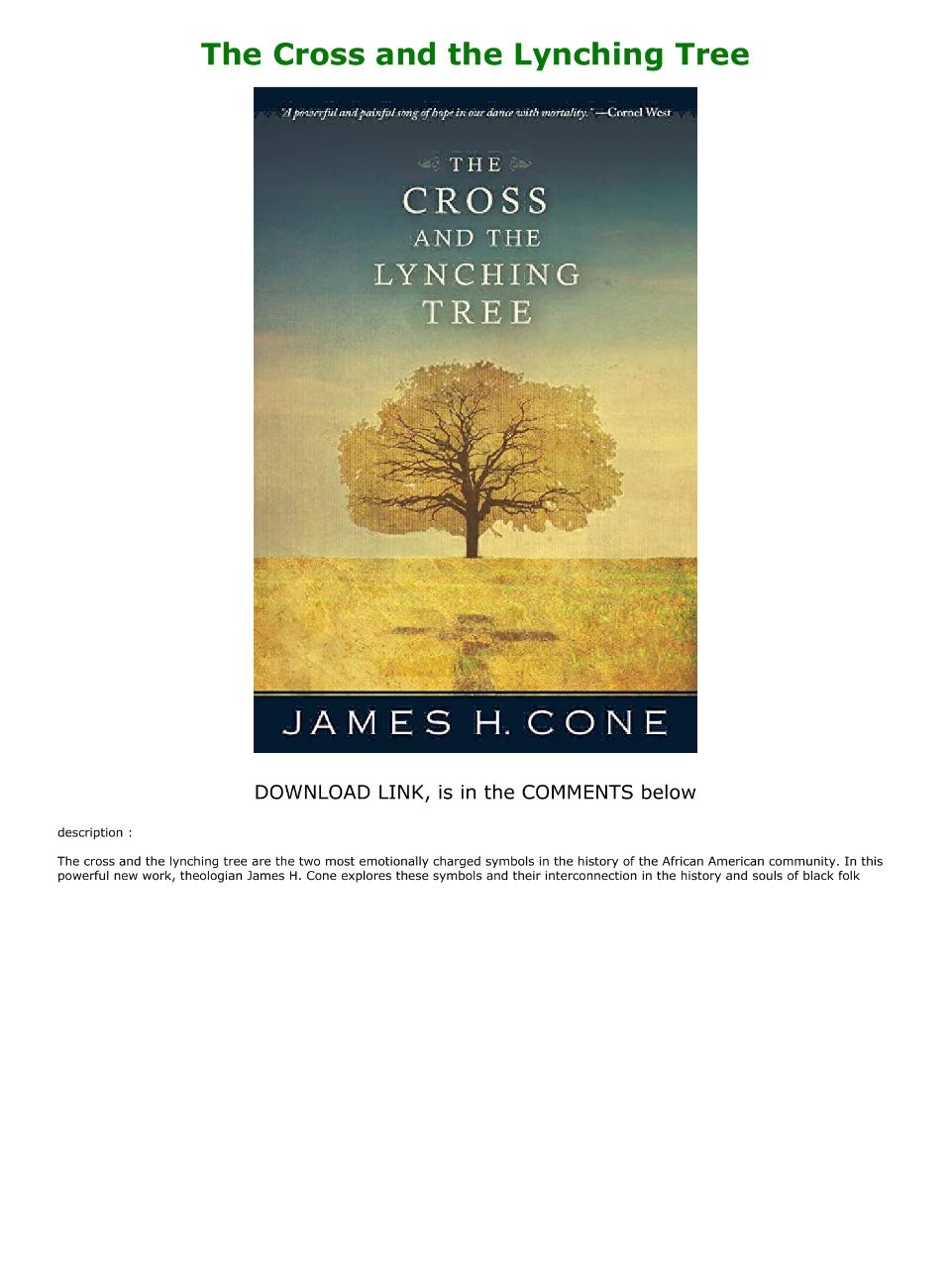 The Cross And The Lynching Tree Pdf Free