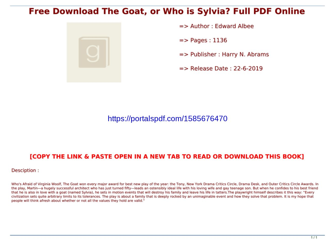 The Goat Or Who Is Sylvia Pdf Download