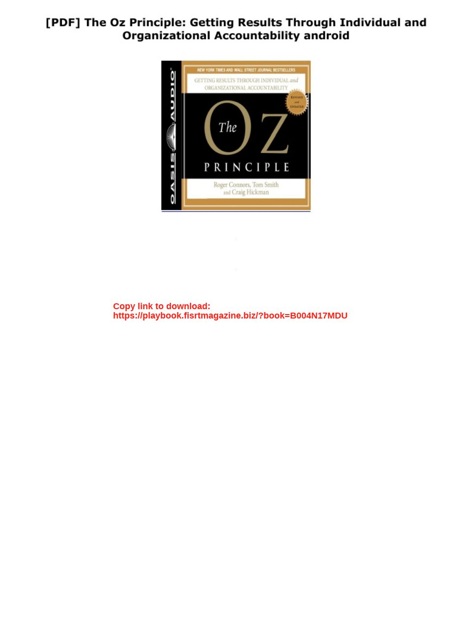 The Oz Principle Pdf