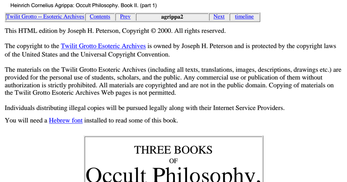 Three Books Of Occult Philosophy Pdf