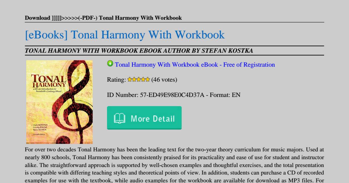 Tonal Harmony Workbook Pdf
