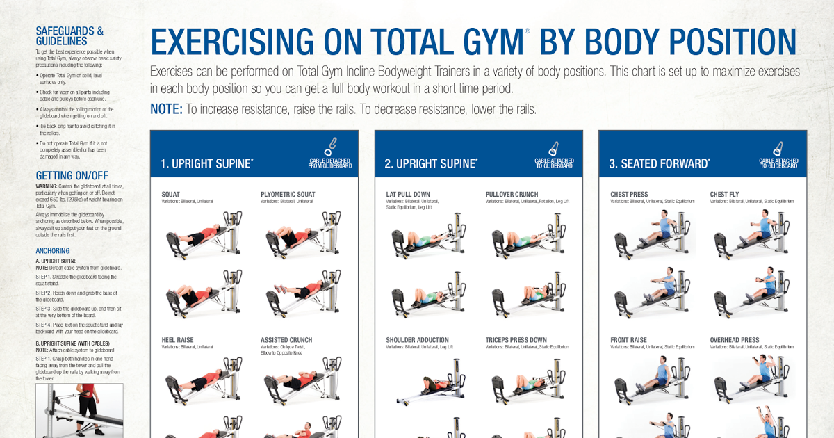Total Gym Workout Chart Pdf Download
