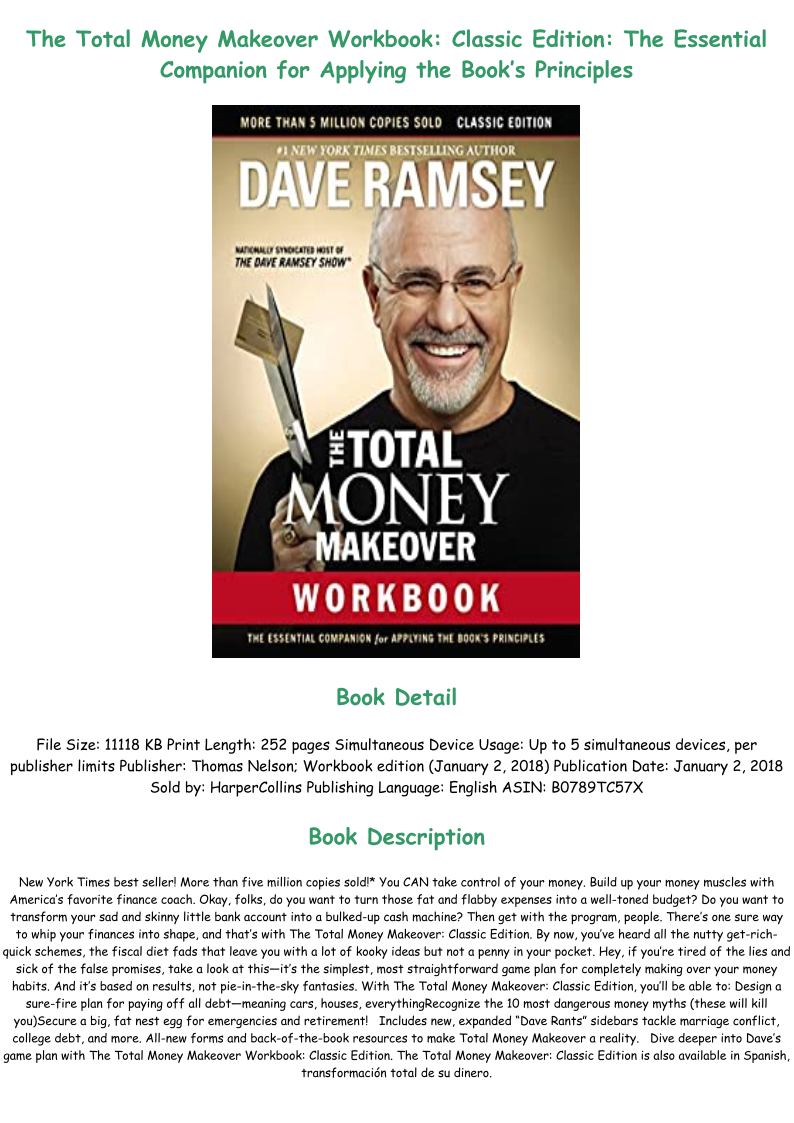 Total Money Makeover Workbook Pdf