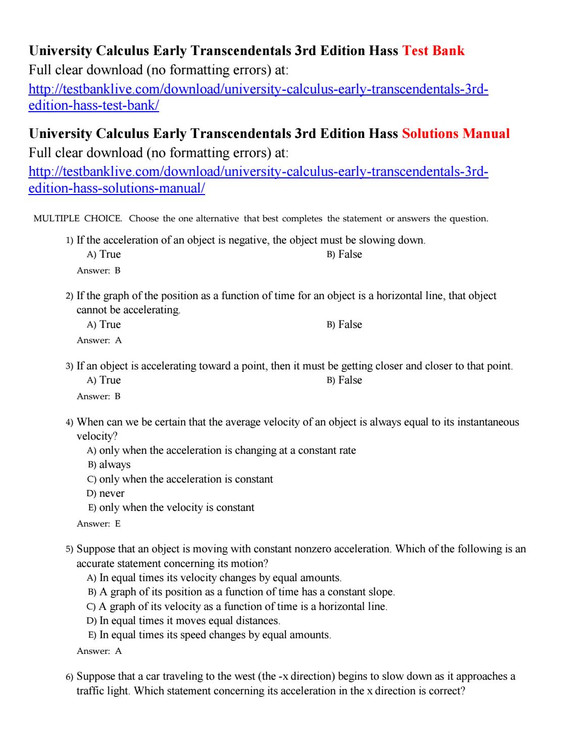 University Calculus Early Transcendentals 3rd Edition Pdf Answers