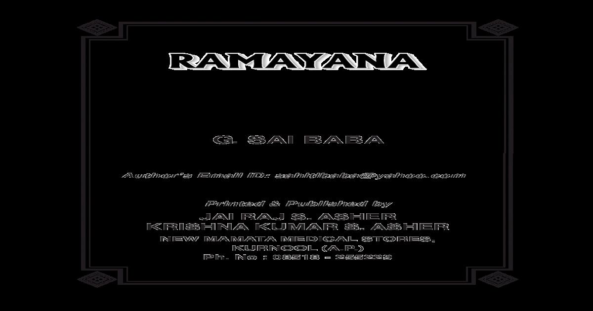 Valmiki Ramayana Pdf In English