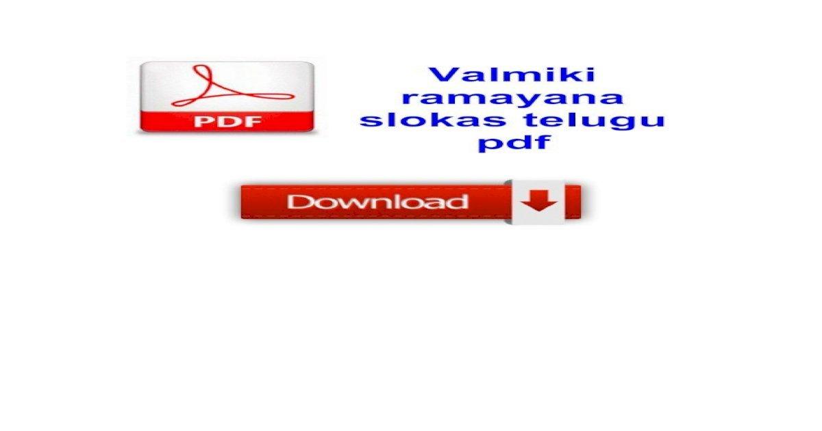 Valmiki Ramayana Pdf Telugu