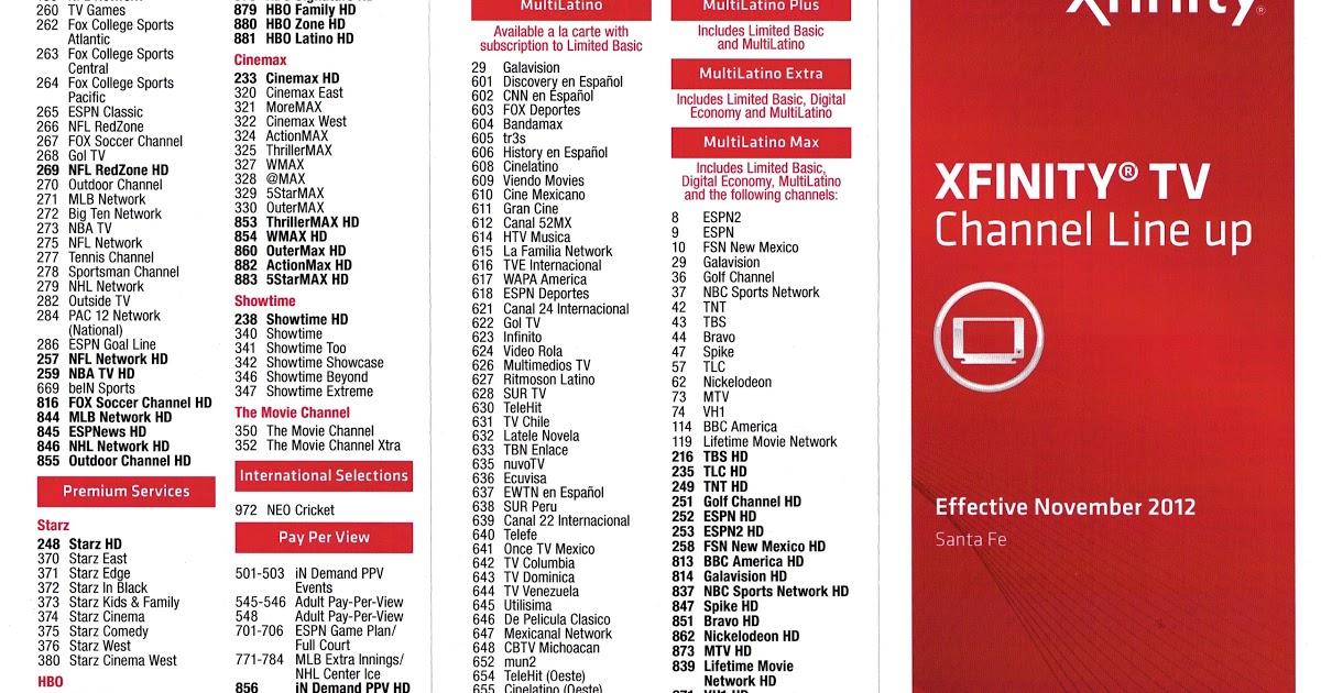 Xfinity Channel Lineup Pdf 2020