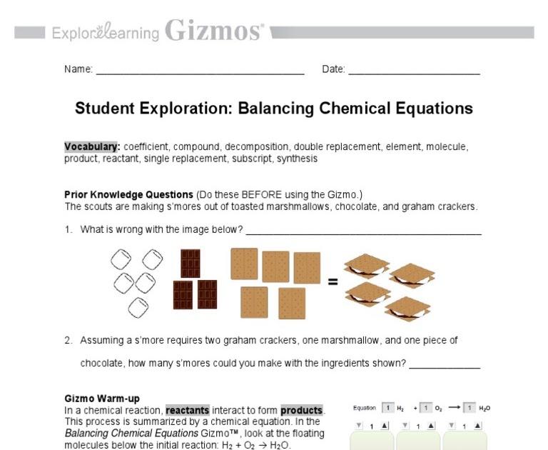 Balancing Chemical Equations Gizmo Answer Key Pdf