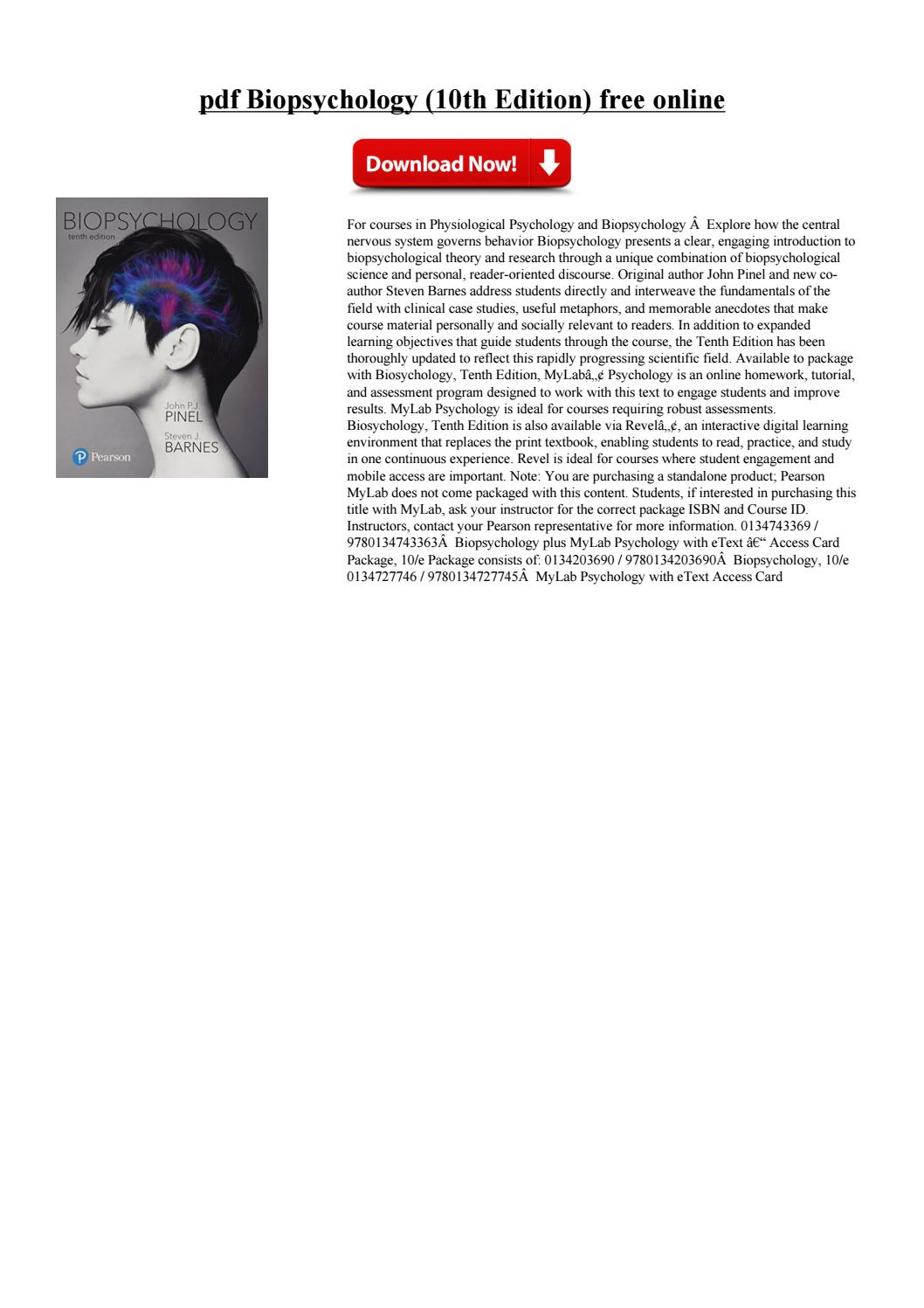 Biopsychology 10th Edition Pdf Free