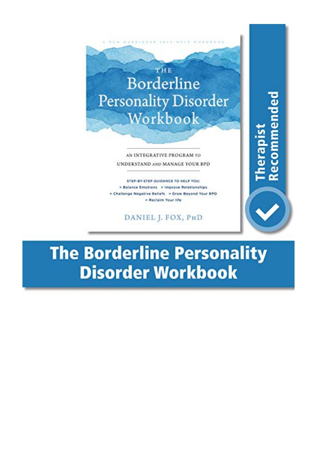 Borderline Personality Disorder Workbook Pdf Free