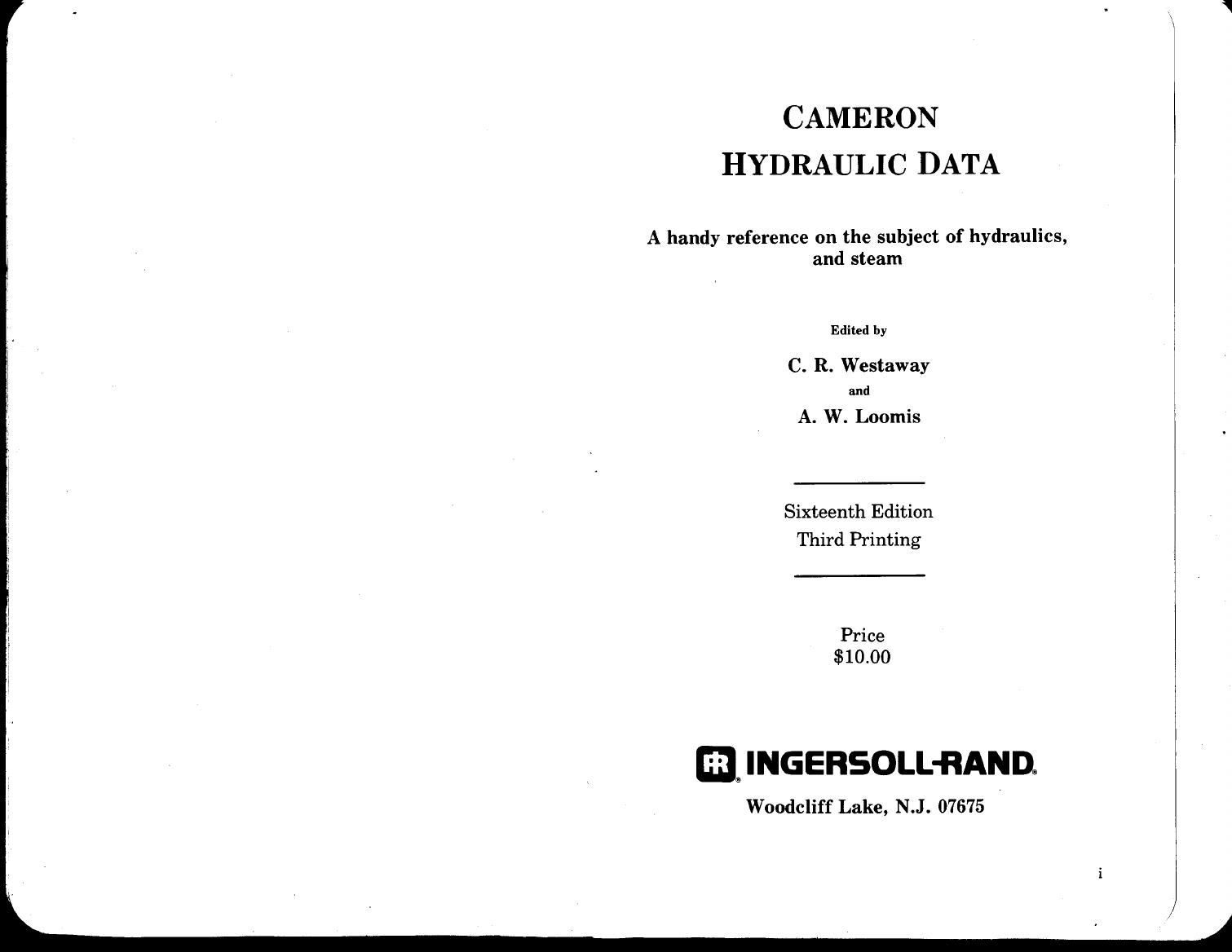 Cameron Hydraulic Data Pdf Download