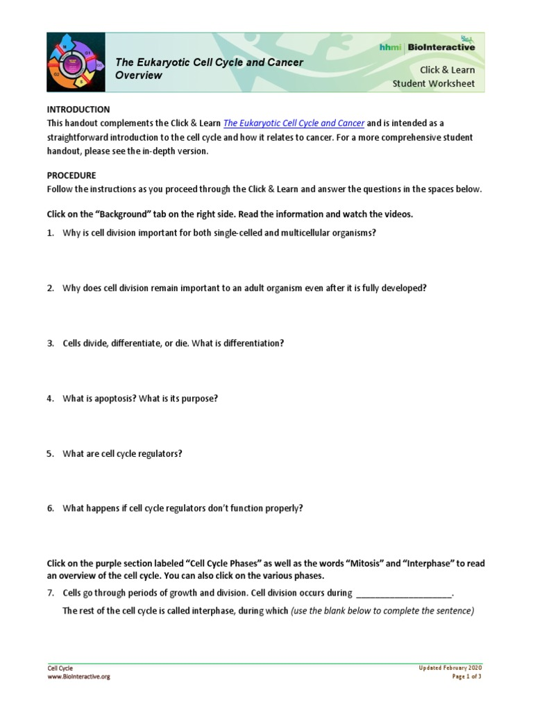 Cell Cycle Regulation Pdf Answers