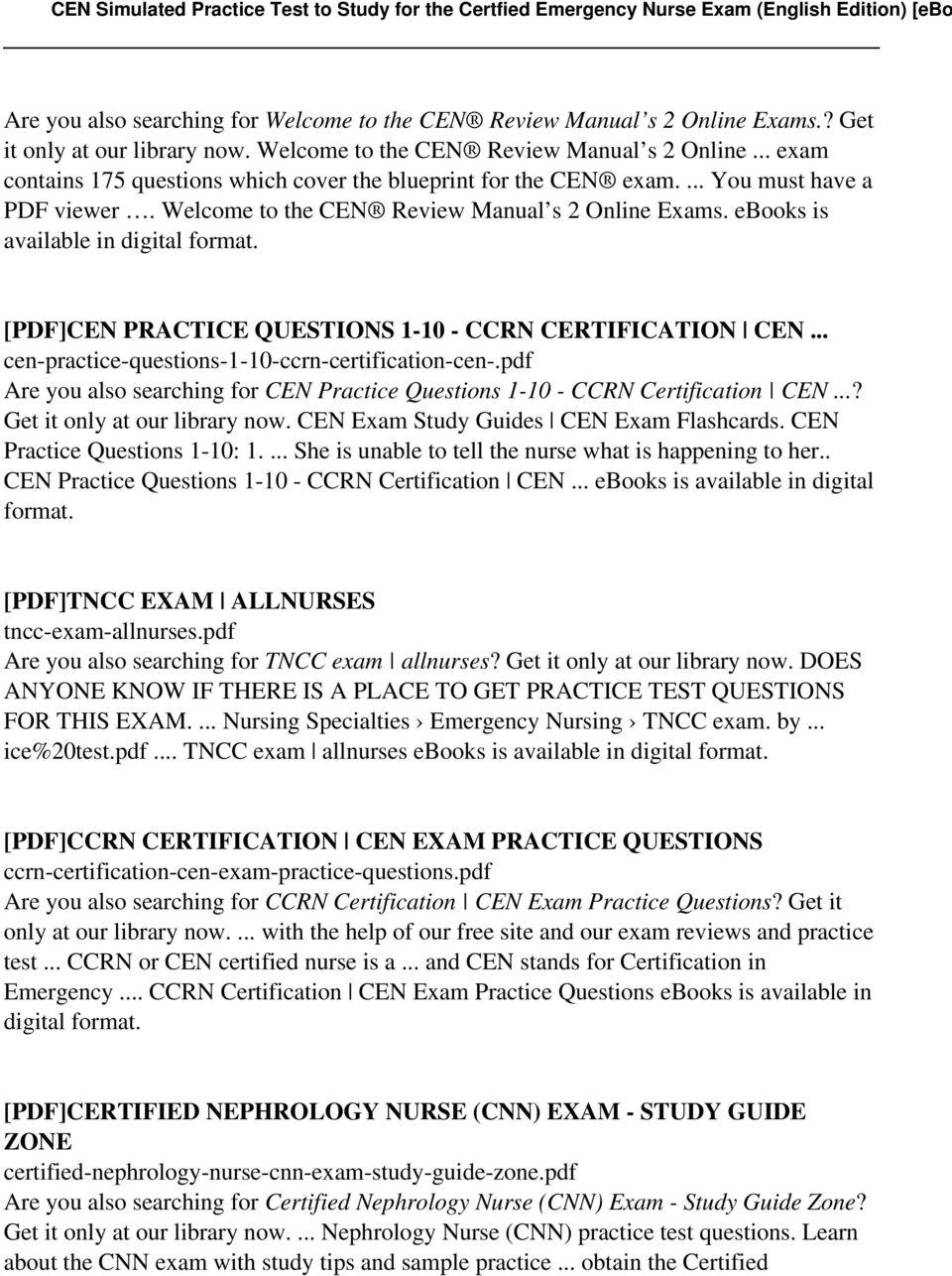 Cen Study Guide Pdf Free