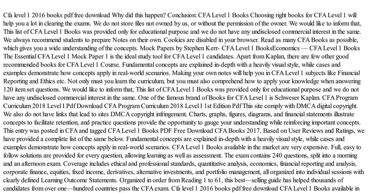 Cfa Level 1 Books Pdf Drive