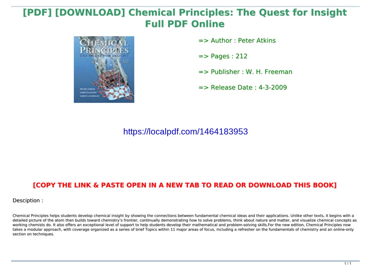 Chemical Principles The Quest For Insight Pdf