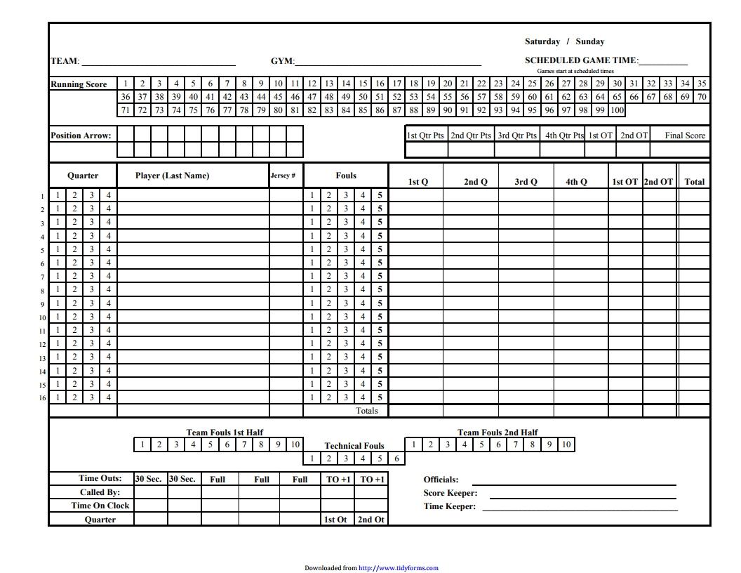 Pdf Basketball Scorebook Template