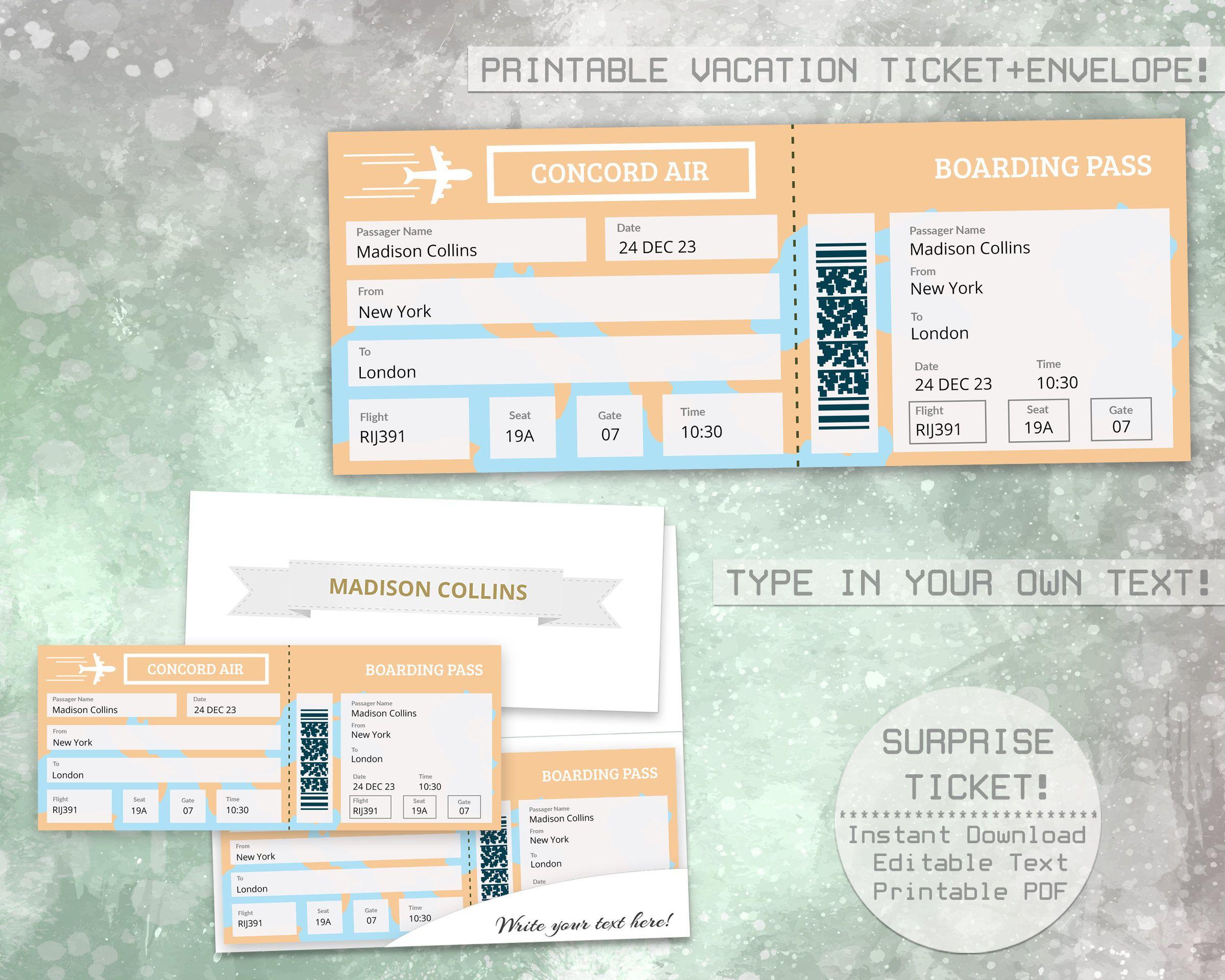 Printable Boarding Pass Template Pdf
