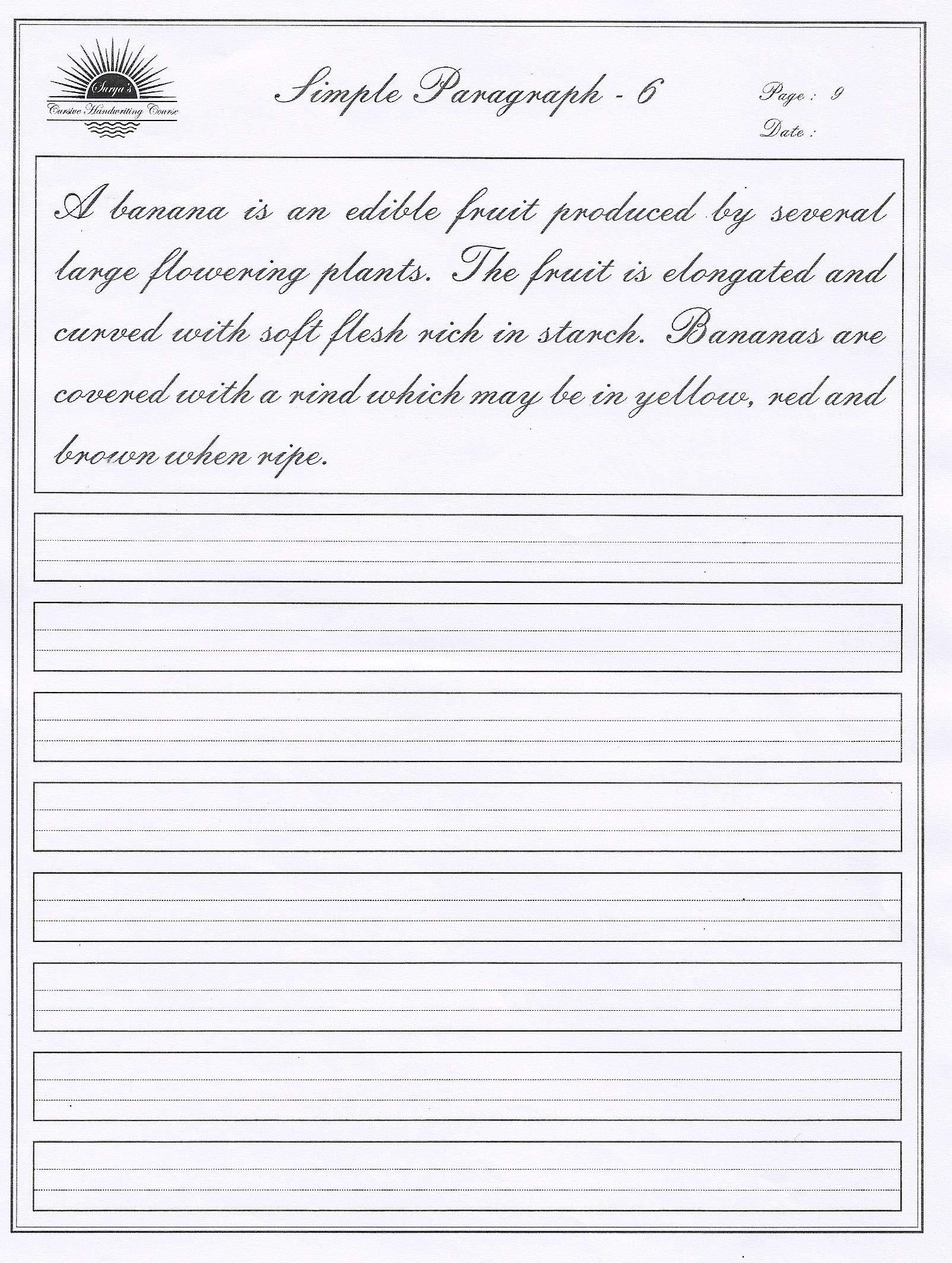 Cursive Writing Paragraph Pdf Download