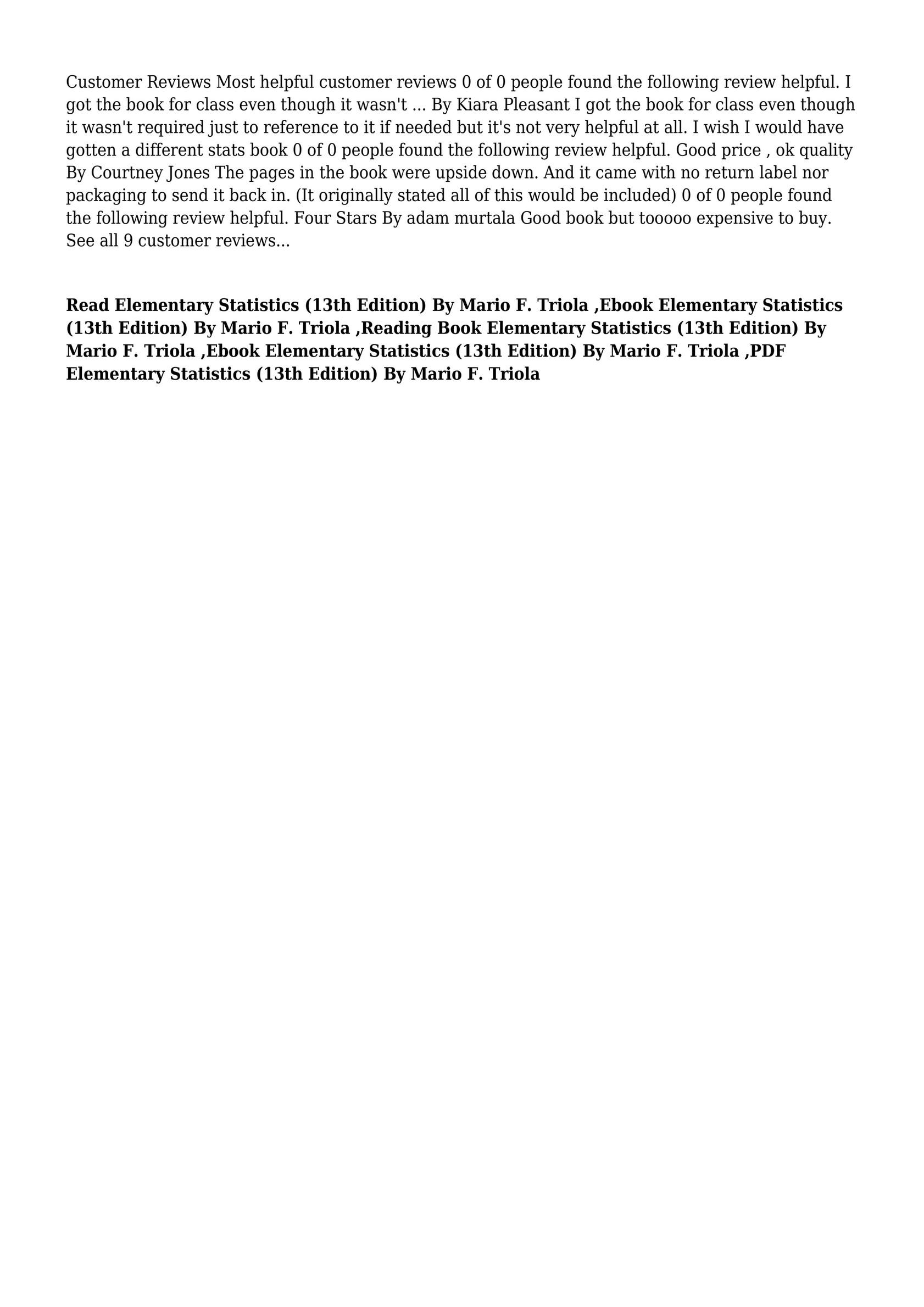 Elementary Statistics Mario Triola 13th Edition Pdf