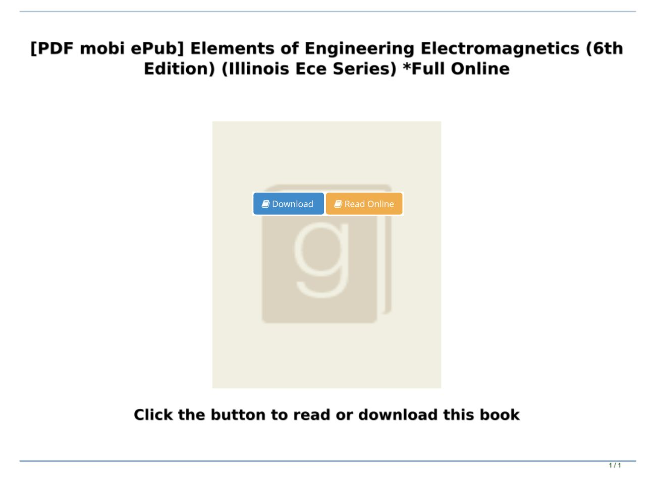 Elements Of Electromagnetics 6th Edition Pdf