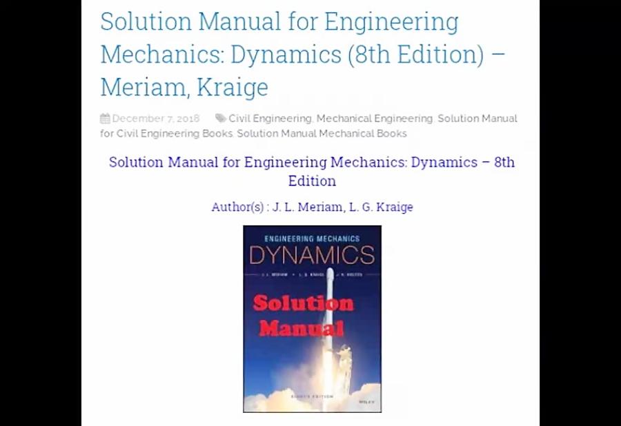 Engineering Mechanics Dynamics 8th Edition Solutions Pdf