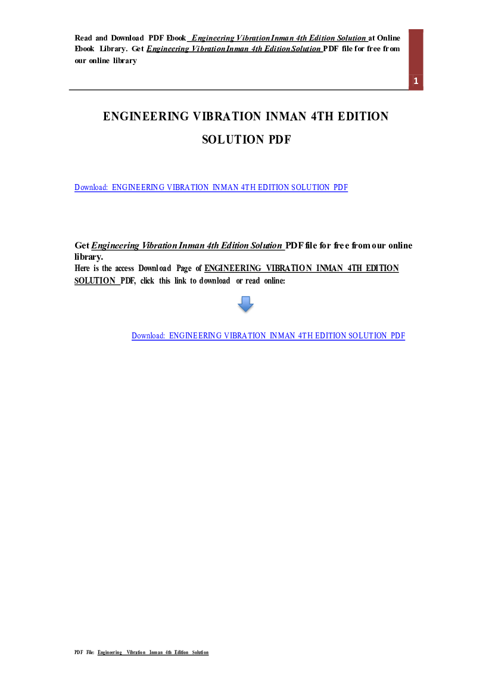 Engineering Vibration 4th Edition Pdf