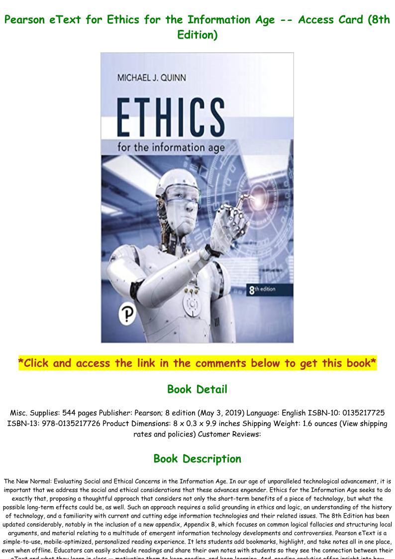 Ethics For The Information Age Pdf