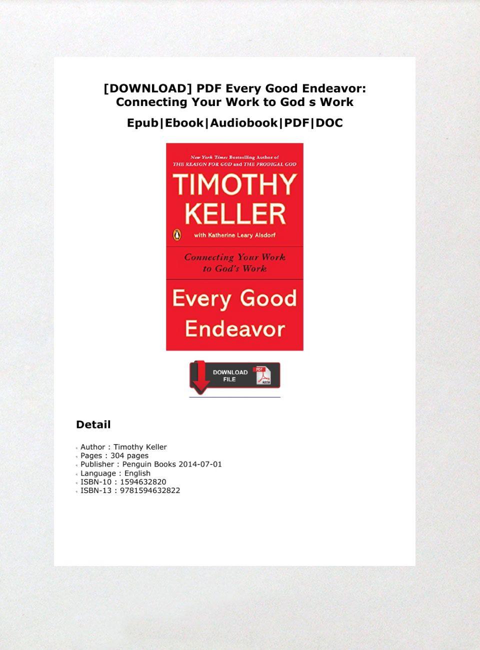 Every Good Endeavor Pdf Download