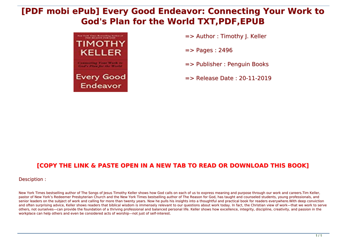 Every Good Endeavor Pdf