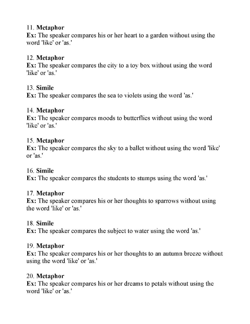 Figurative Language Test Pdf Answer Key