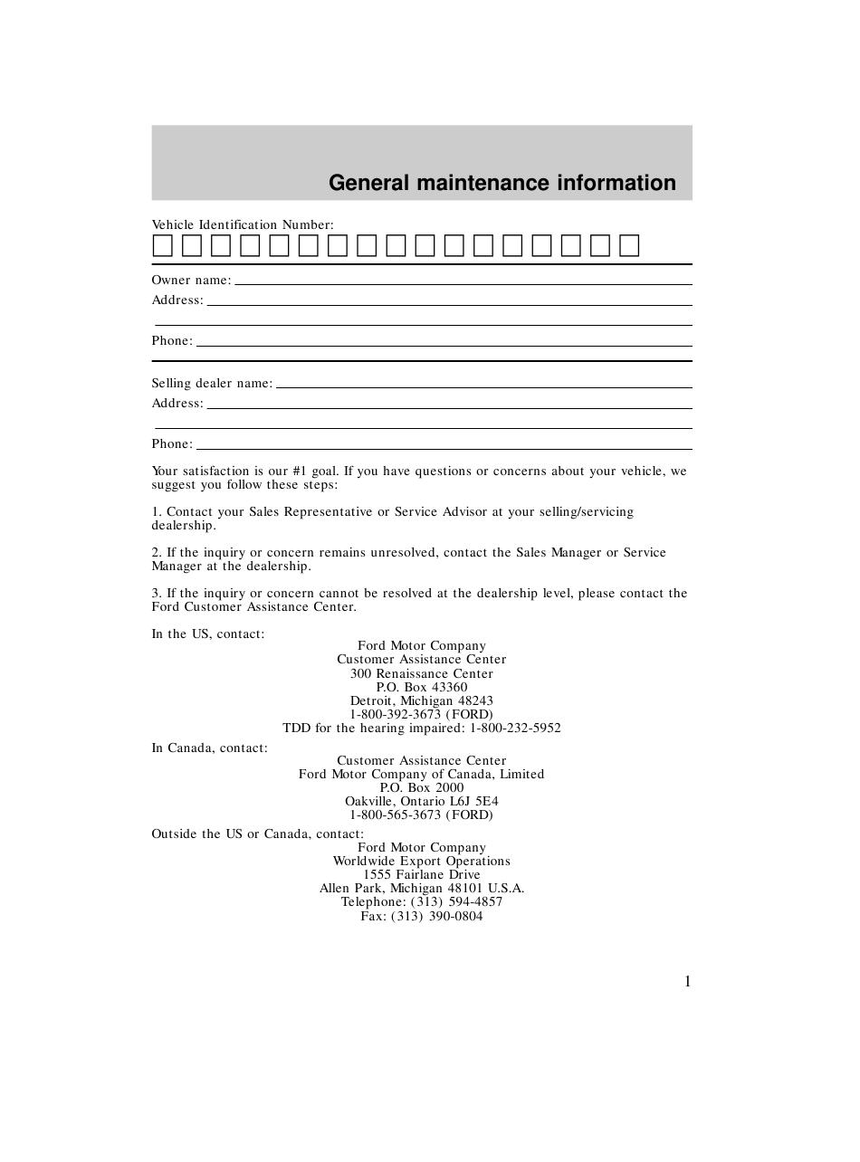 Ford Maintenance Schedule Pdf