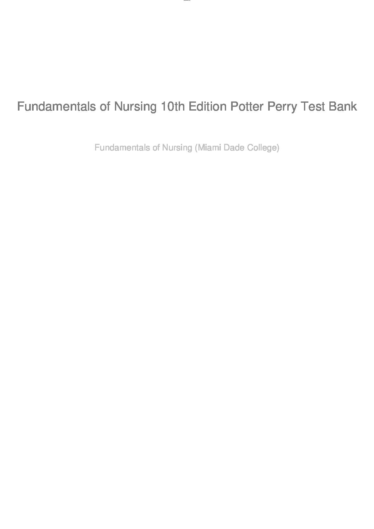Fundamentals Of Nursing Test Bank Pdf