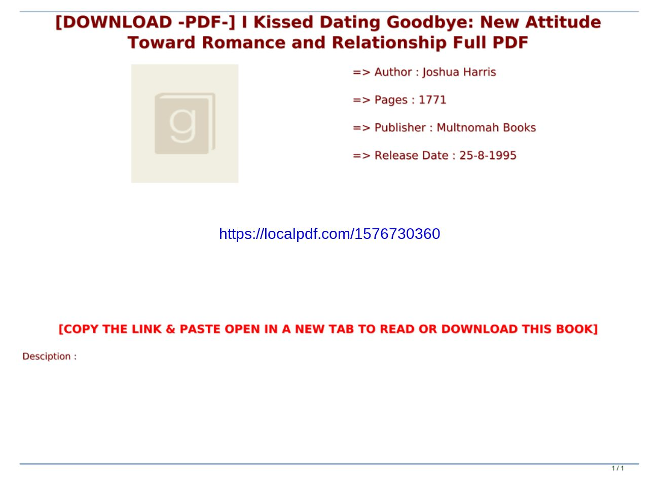 I Kissed Dating Goodbye Pdf Download
