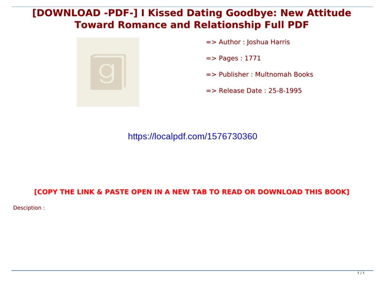 I Kissed Dating Goodbye Pdf