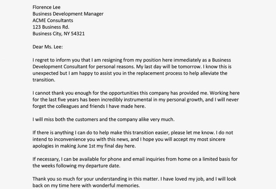 Immediate Resignation Letter Pdf Download