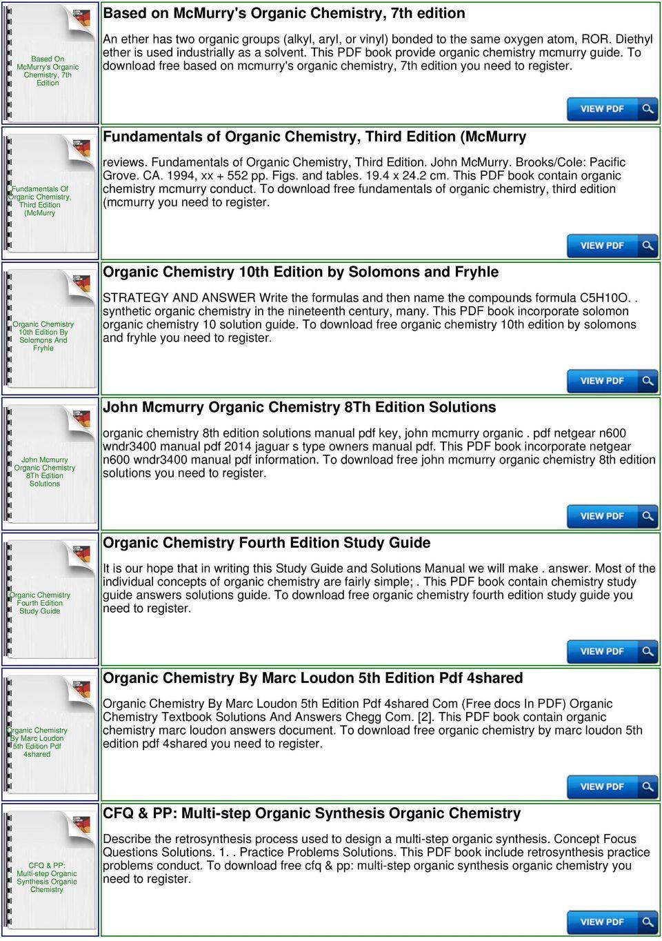 John Mcmurry Organic Chemistry 9th Edition Pdf