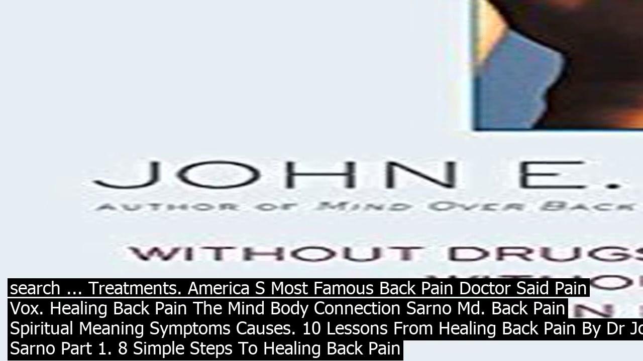 John Sarno Healing Back Pain Pdf
