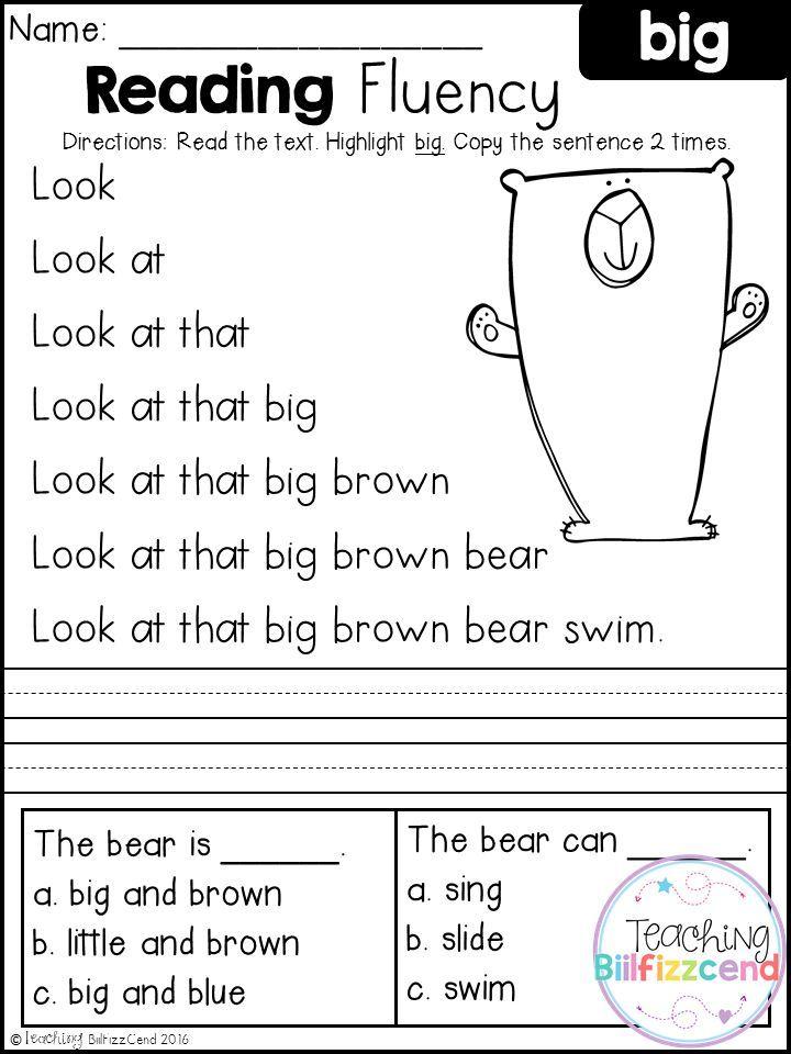 Kindergarten Fluency Passages Pdf Free
