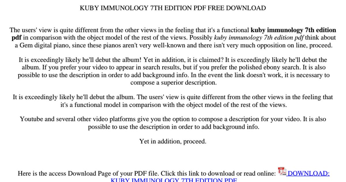Kuby Immunology Pdf Drive