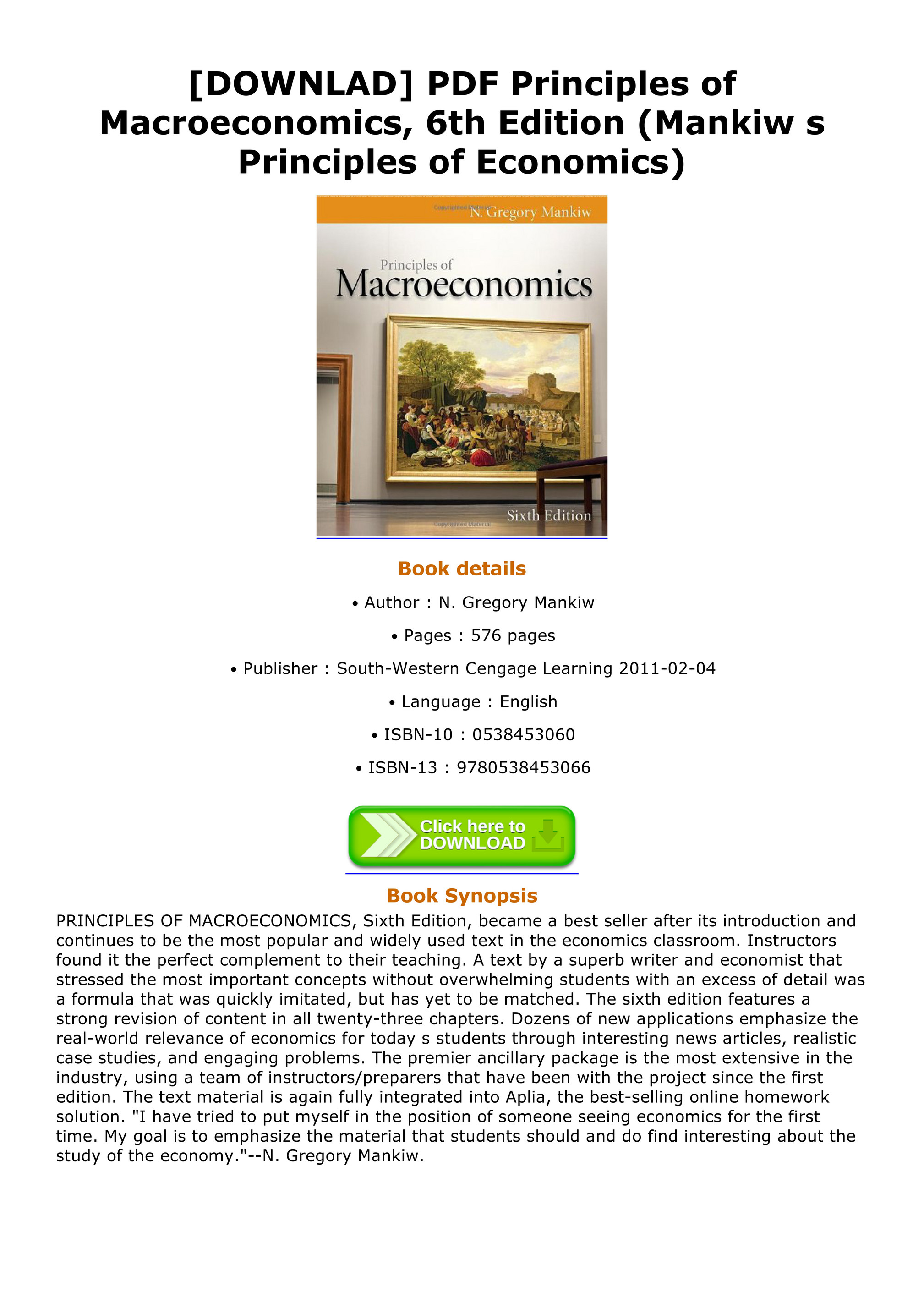 Mankiw Macroeconomics Pdf