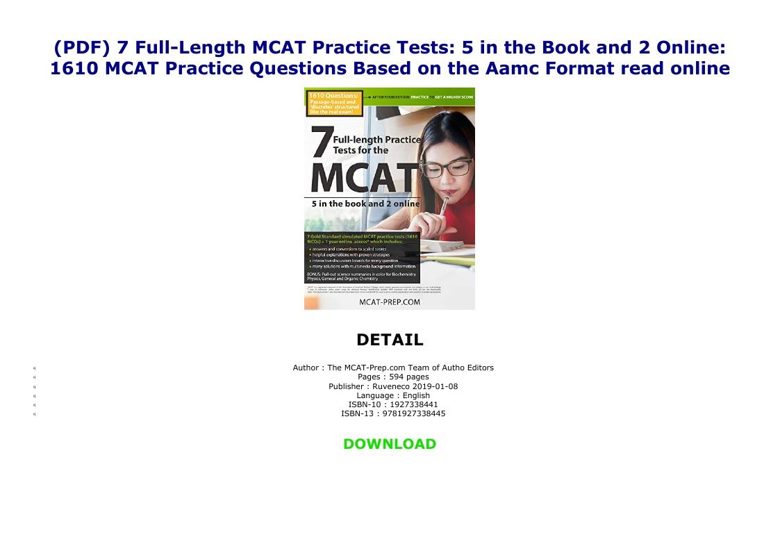 Mcat Full Length Practice Test Pdf