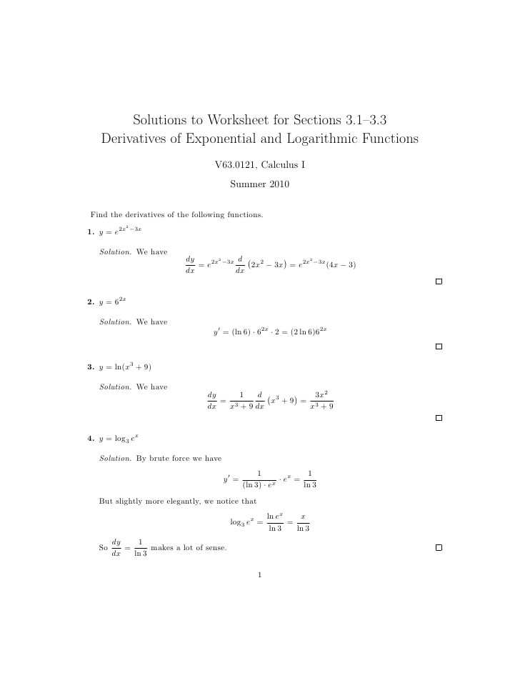Natural Logarithm Worksheet With Answers Pdf