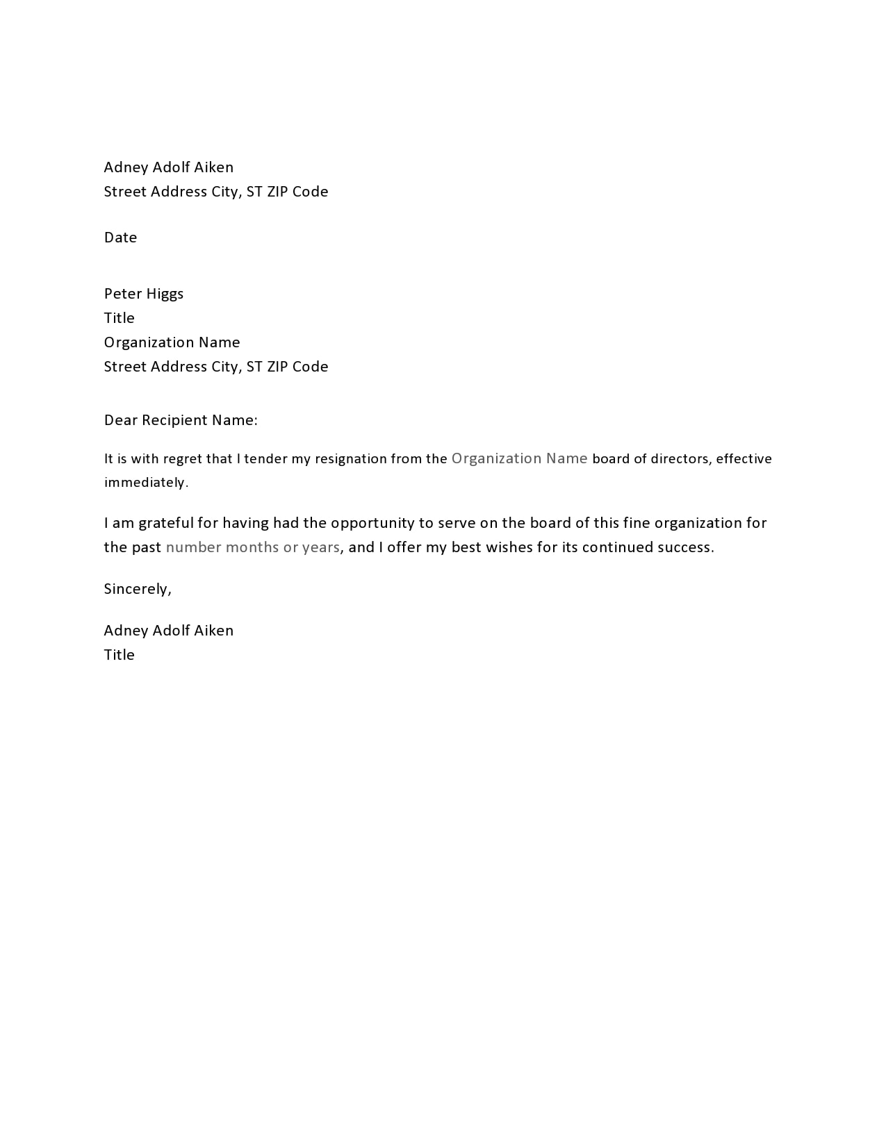 Pdf Immediate Short Resignation Letter