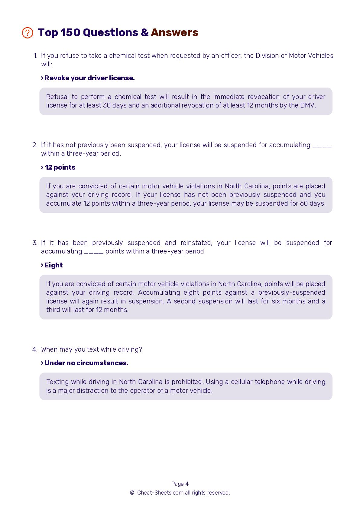 Pdf Nc Dmv Permit Test Cheat Sheet