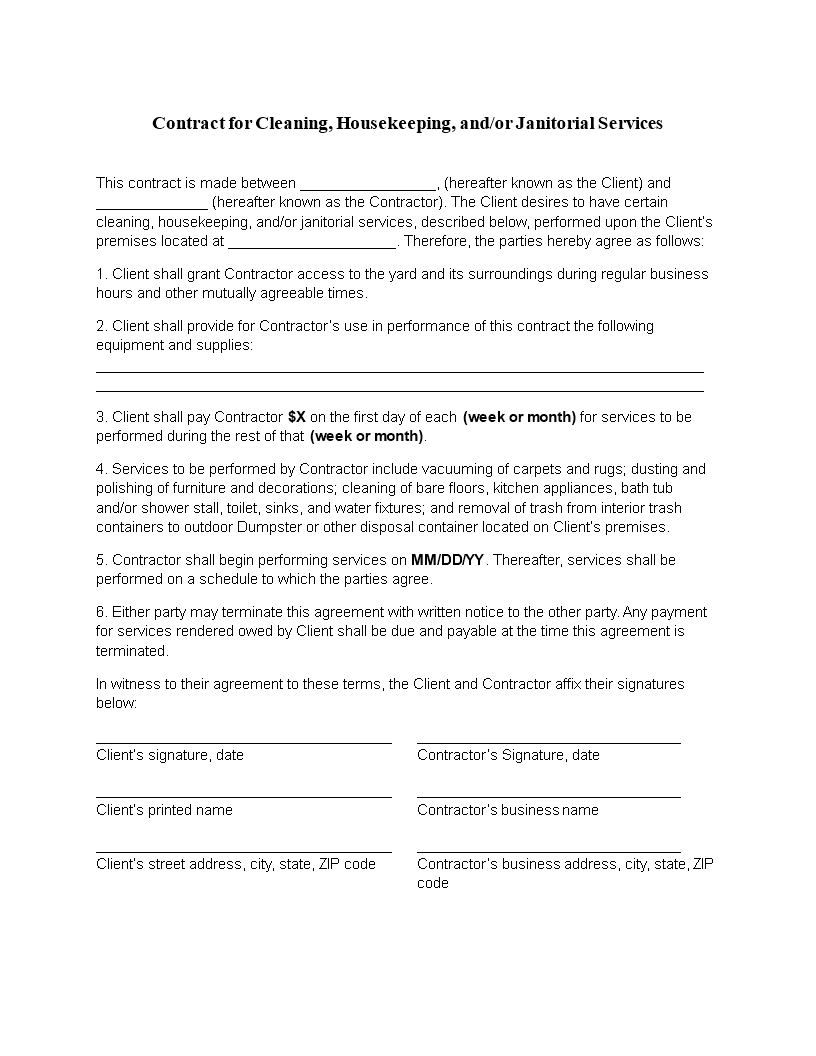 Pdf Printable Free Cleaning Proposal Template