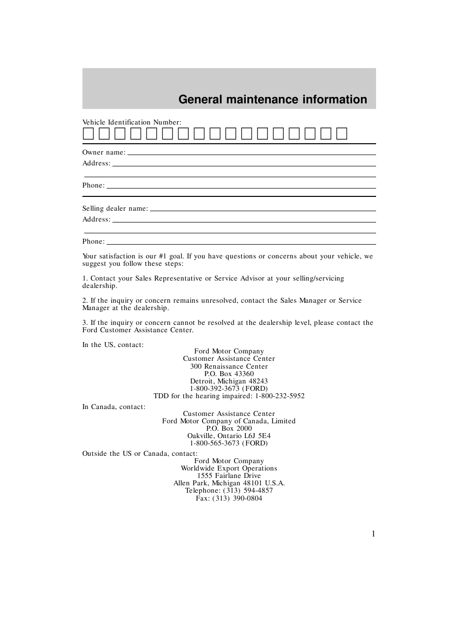Printable Ford Maintenance Schedule Pdf