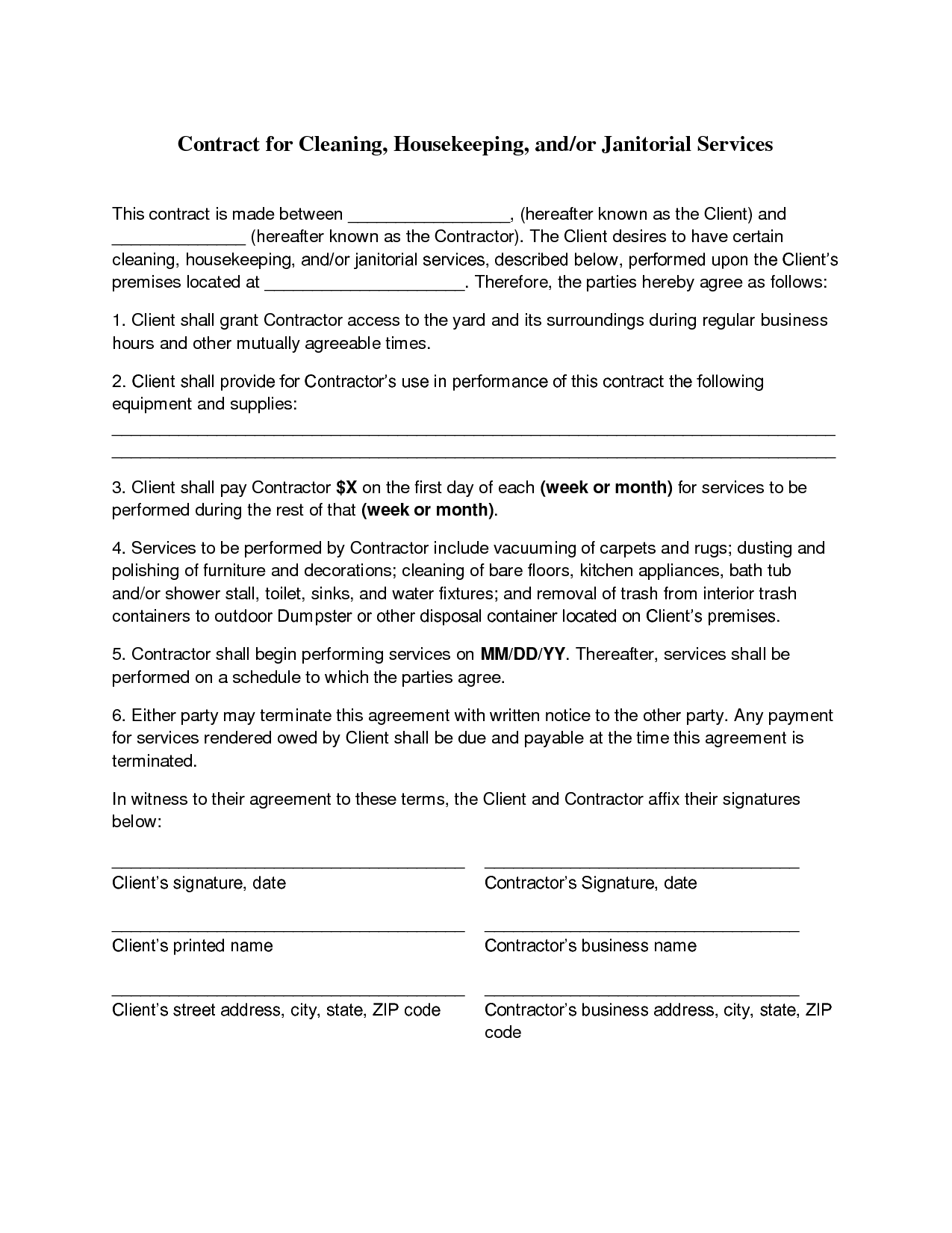 Proposal Cleaning Service Agreement Template Pdf