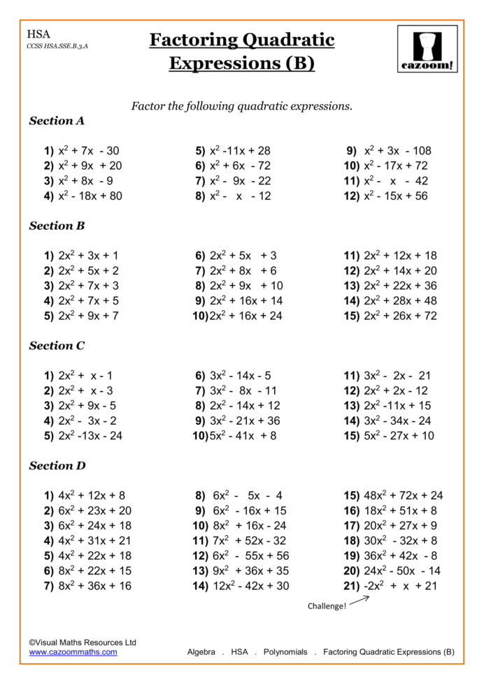 10th Grade Algebra Worksheets With Answers Pdf