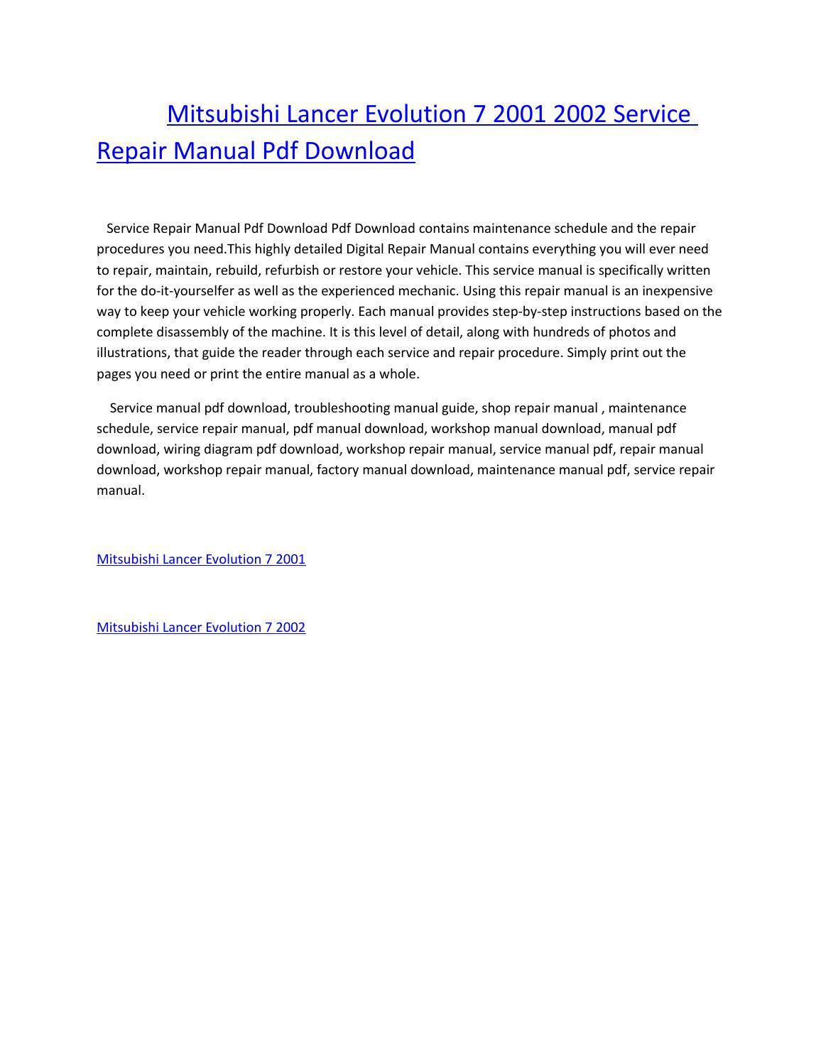 2002 Mitsubishi Lancer Service Manual Pdf