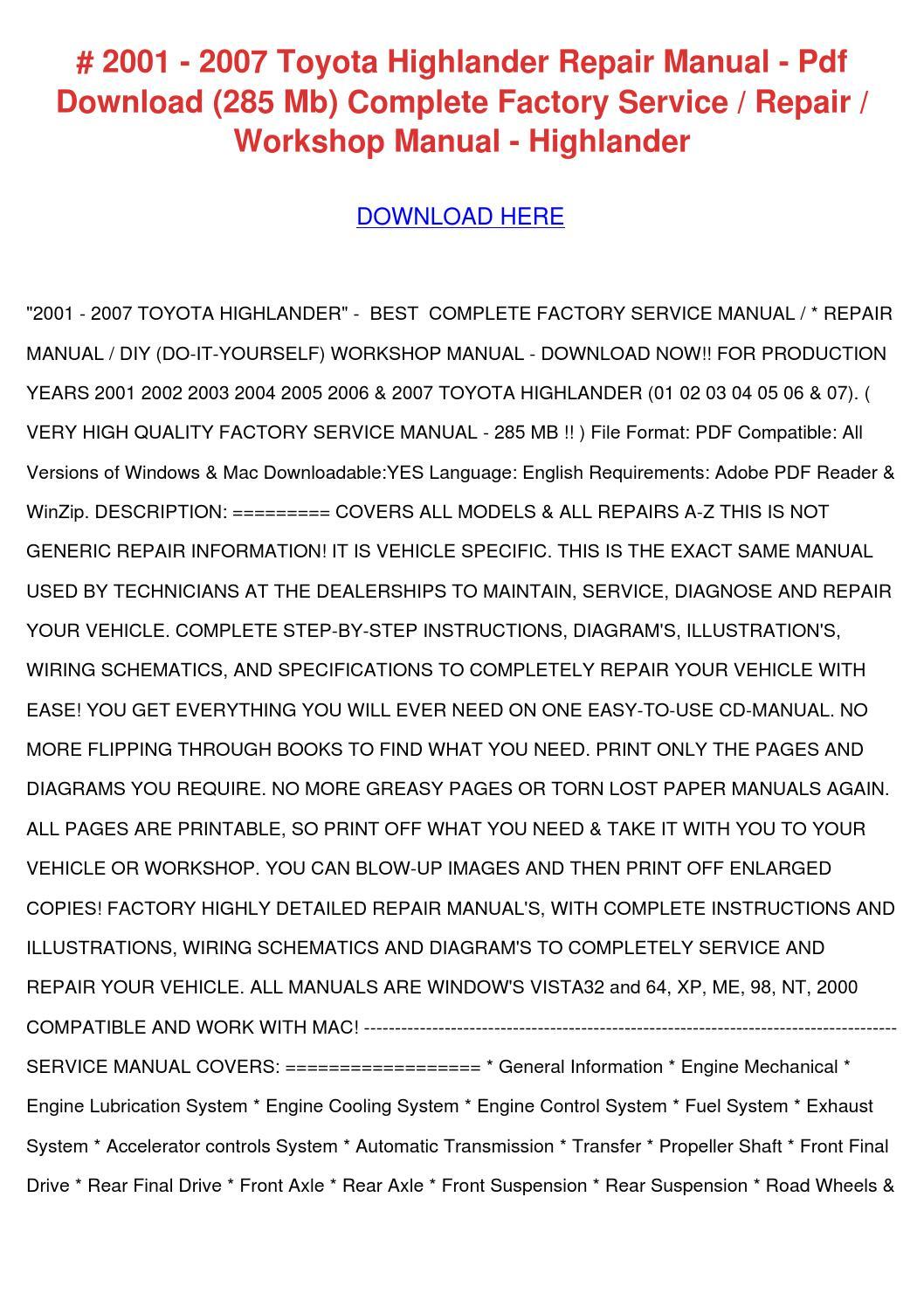 2002 Toyota Highlander Service Manual Pdf